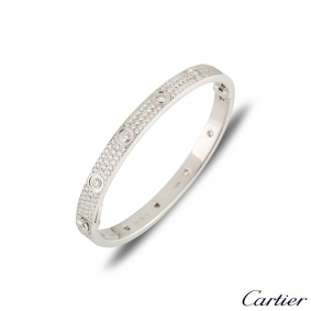 Cartier White Gold Pave Diamond Love Bracelet Size 17 N6033602